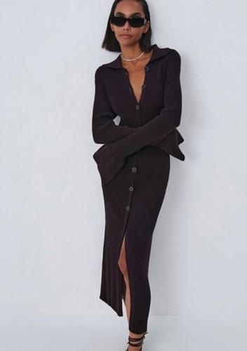 Kışlık Günlük Kahverengi Örgü Düğmeli Uzun Elbise