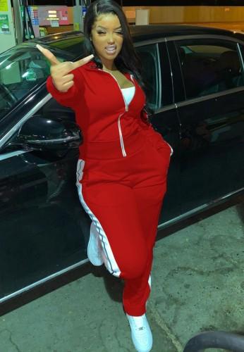 Tuta sportiva autunnale a righe rosse con cerniera e pantaloni 2PC