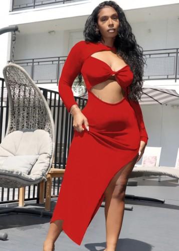 Sonbahar Kırmızı Seksi Düzensiz Uzun Parti Elbise Kesip