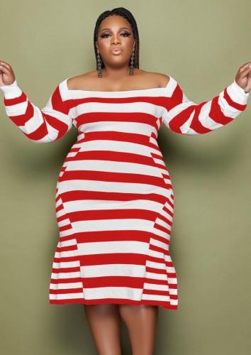 Vestido de fiesta de sirena roja de rayas de invierno de talla grande