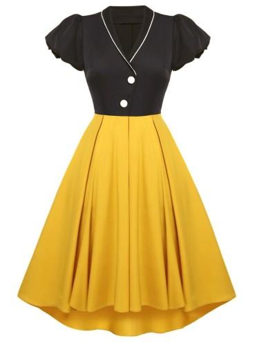 Herbst formales schwarzes und gelbes V-Ausschnitt Kurzarm Vintage Ballkleid