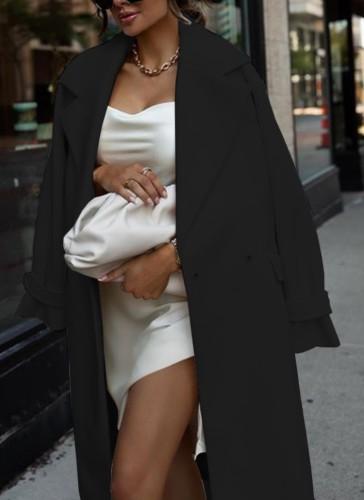 Kışlık Siyah Devirme Yaka Elegant Uzun Mont