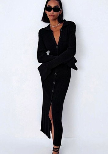 Kışlık Günlük Siyah Triko Düğmeli Uzun Elbise