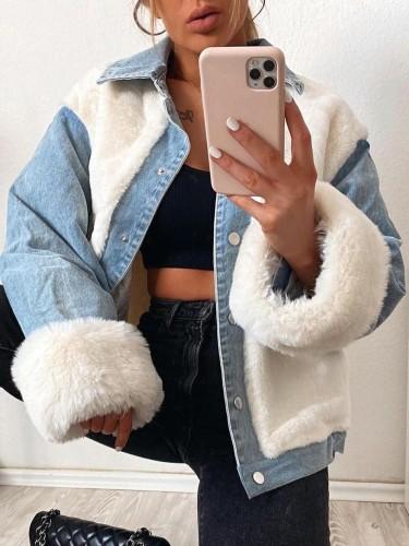 Winter Casual Weiß Berber Fleece Kontrast Jeansjacke