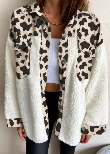 Winter Casual Leopard Print Check Porcket Mit Berber Fleece Hemdmantel