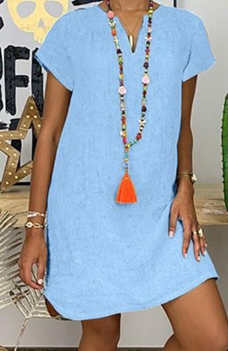 Vestido midi liso de manga corta azul informal de verano de talla grande