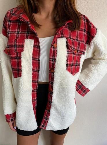 Winter Casual Red Check Porcket Mit Berber Fleece Hemdmantel