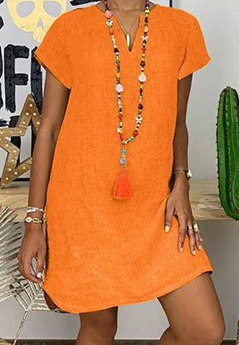 Vestido midi liso de manga corta naranja informal de verano de talla grande
