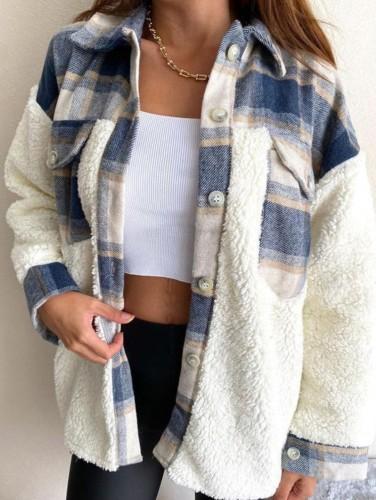 Winter Casual Blue Check Porcket mit Berber Fleece Hemdmantel