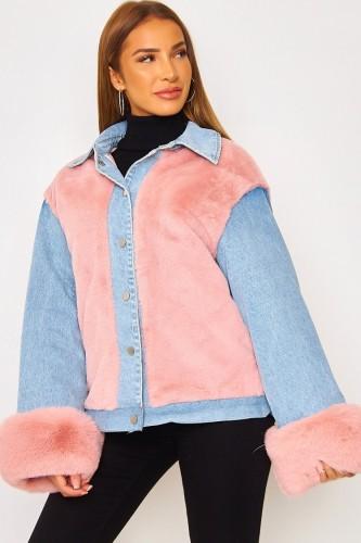Winter Casual Pink Berber Fleece Kontrast Jeansjacke