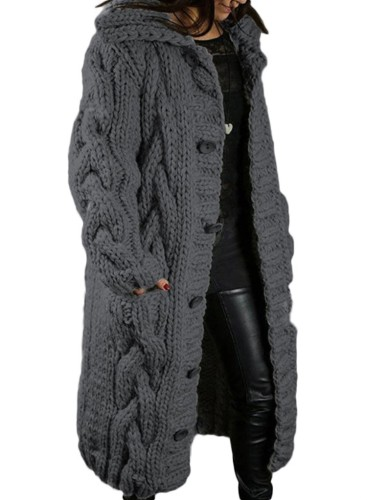 Winter Plus Size Casual Dk-Grey Kintted Weave Button Hoodies und Cardigans