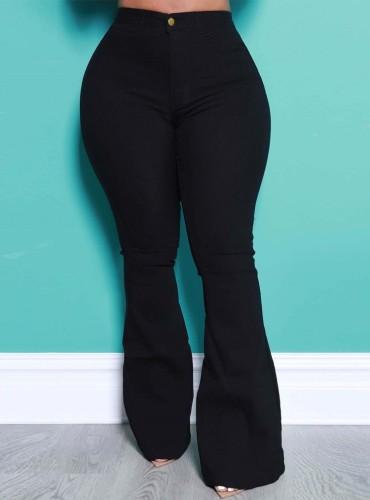 Jeans acampanados de cintura alta negros de moda de otoño