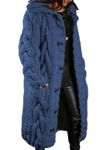 Winter Plus Size Casual Blau Kintted Weave Button Hoodies und Strickjacken