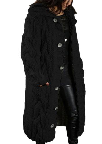 Winter Plus Size Casual Schwarz Kintted Weave Button Hoodies und Strickjacken