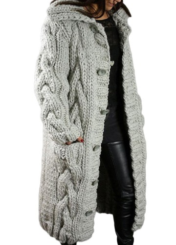 Winter Plus Size Casual Grau Kintted Weave Button Hoodies und Strickjacken