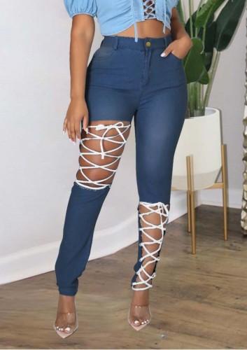 Herbst Plus Size Blau Sexy Fashion Bandage Aushöhlen Slim Jeans