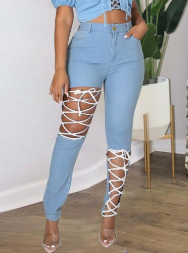 Herbst Plus Size Lt-Blau Sexy Fashion Bandage Aushöhlen Slim Jeans