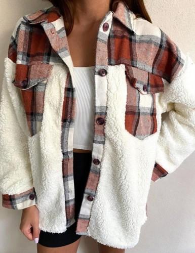 Porcket informal de invierno a cuadros marrones con abrigo de camisa de vellón bereber