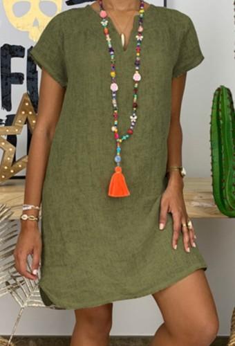 Sommer Plus Size Casual Grün Kurzarm Einfarbig Midikleid