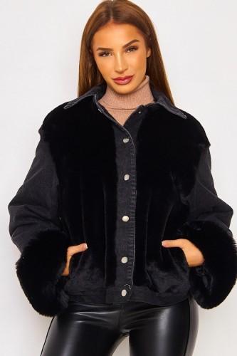 Winter Casual Schwarze Berber Fleece Kontrast Schwarze Jeansjacke