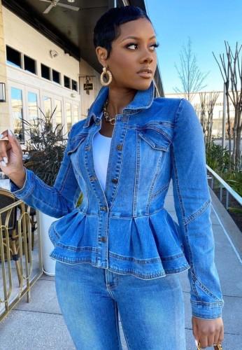 Herbst Trendige blaue geknöpfte Jeansjacke mit Rüschen