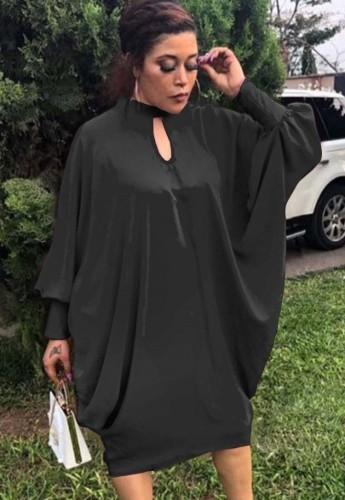 Vestido suelto con manga de murciélago y ojo de cerradura negro de talla grande de otoño