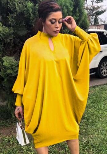 Vestido suelto con manga de murciélago y ojo de cerradura amarillo de talla grande de otoño