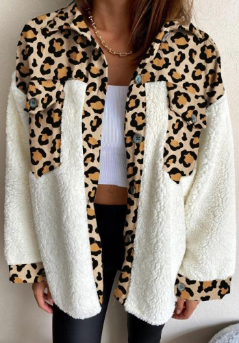 Winter Casual Leopard Print Porcket mit Berber Fleece Hemdmantel