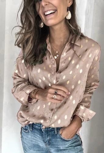 Fall Casual Beige Dot Print Long Sleeve Shirt