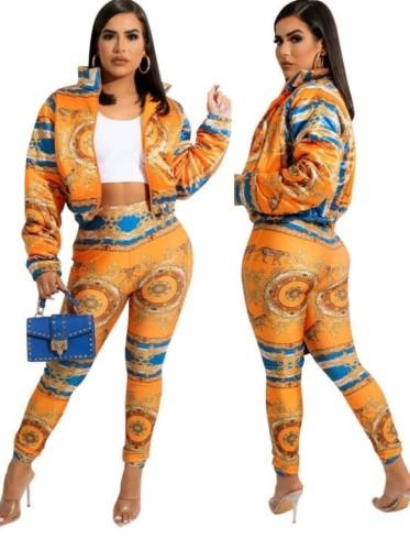 Herbst-Retro-Orange bedruckte Reißverschlussjacke und Röhrenhosen-Set