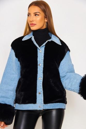 Winter Casual Schwarze Berber Fleece Kontrast Jeansjacke