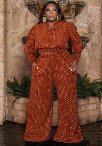 Completo autunno taglie forti a pois arancione scuro con top corto e pantaloni