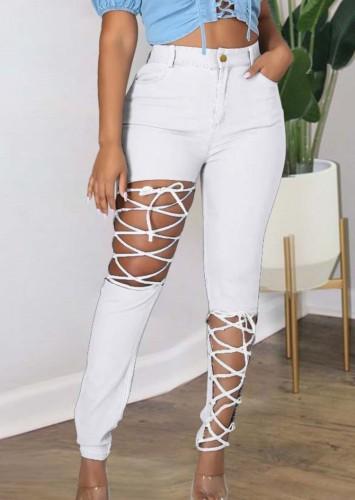 Herbst Plus Size Weiß Sexy Fashion Bandage Aushöhlen Slim Jeans
