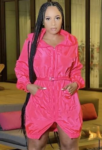 Inverno Trendy Rosy Antivento Split Hoody Casual Dress