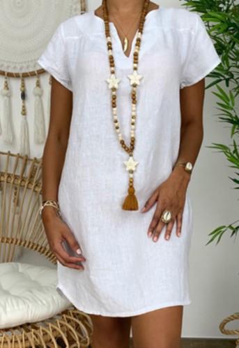 Sommer Plus Size Casual Weiß Kurzarm Einfarbiges Midikleid