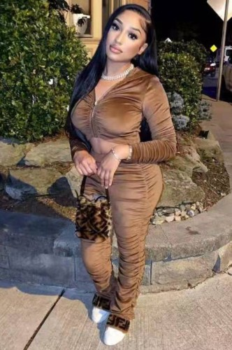 Tute a due pezzi con cappuccio corto in velluto marrone alla moda autunno