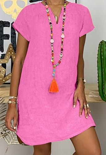 Vestido midi liso de manga corta rosa informal de verano de talla grande