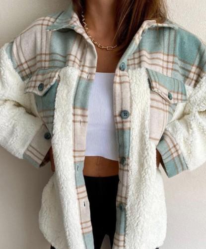 Porcket de cuadros verdes casual de invierno con abrigo de camisa de vellón bereber