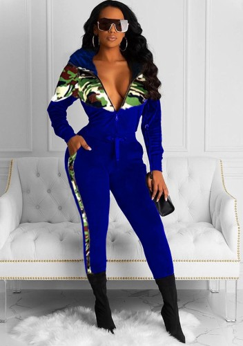 Winter Trendy Blau Camous Patch Zipper Top und Slim Sweatpants Set