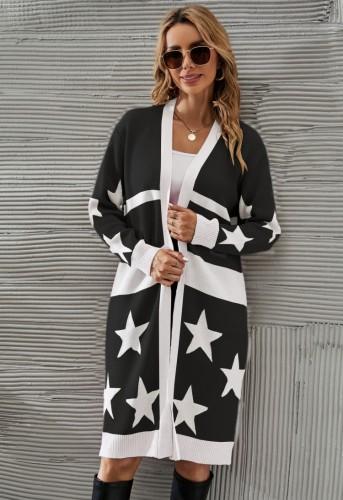 Kış Günlük Beyaz Yıldız Baskılı Siyah Uzun Triko Hırka