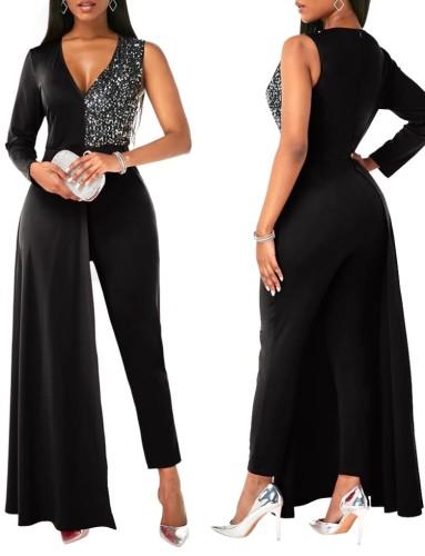 Herbst Elegant Plus Size Schwarzer Pailletten-Patch-Cocktail-Overall mit einem Ärmel