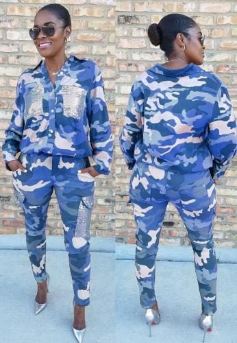 Kışlık Casual Mavi Kamuflaj Devirme Yaka Gömlek ve Maç Kargo Pantolon