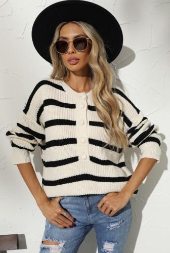 Winter Casual Schwarz und Khaki Streifen Pullover mit Knöpfen