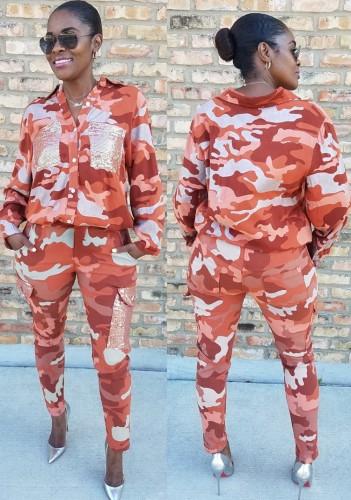 Kışlık Günlük Turuncu Kamuflaj Devirme Yaka Gömlek ve Maç Kargo Pantolon