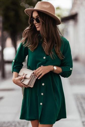 Vestido camisero con botones y cuello vuelto verde casual más blanco con cinturón