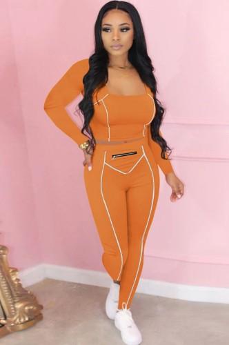 Herbst Sexy Orange U-Ausschnitt Crop Tight Top und Slim Pants Set