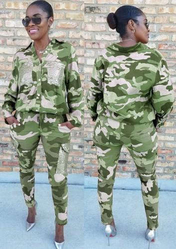 Kışlık Günlük Yeşil Kamuflaj Devirme Yaka Gömlek ve Maç Kargo Pantolon