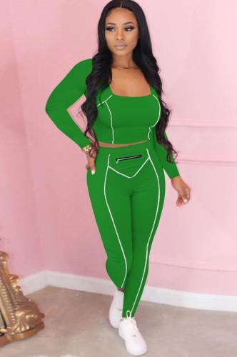 Herbst Sexy Grünes U-Ausschnitt Crop Tight Top und Slim Pants Set