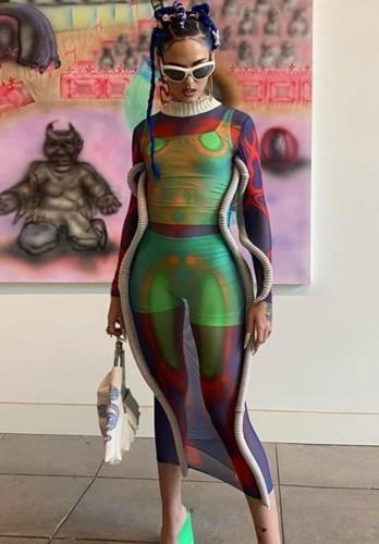 Herbst Sexy High Neck Durchsichtiges Multicolor Mesh langes Kleid