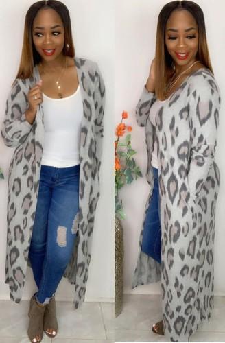 Herbst Casual Leopard Printed graue lange Strickjacke